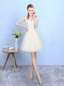 Ideal Champagne V-neck Lace Up Lace Bridesmaid Dress Sleeveless