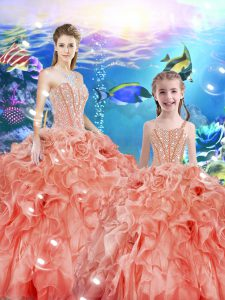 Latest Organza Sweetheart Sleeveless Lace Up Beading and Ruffles Quinceanera Gown in Watermelon Red