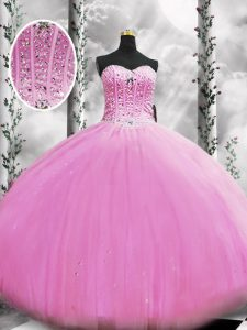 Lilac Sleeveless Tulle Lace Up Quinceanera Dress for Military Ball and Sweet 16 and Quinceanera