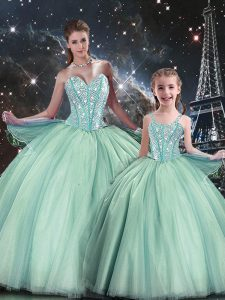 Stunning Floor Length Turquoise Quince Ball Gowns Tulle Sleeveless Beading