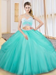 Aqua Blue Tulle Criss Cross Quince Ball Gowns Sleeveless Floor Length Beading and Ruching and Pick Ups