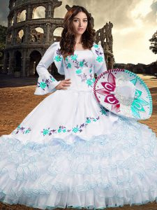 Shining Square Long Sleeves Organza Sweet 16 Dress Embroidery and Ruffled Layers Lace Up