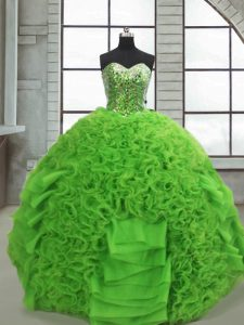 Extravagant Green Sweetheart Neckline Beading and Ruffles Quinceanera Dress Sleeveless Lace Up