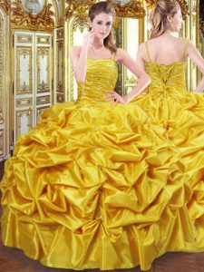 Beauteous Floor Length Lace Up Quinceanera Dress Gold for Military Ball and Sweet 16 and Quinceanera with Beading and Pick Ups