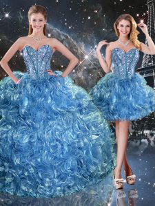 Baby Blue Organza Lace Up 15 Quinceanera Dress Sleeveless Floor Length Beading and Ruffles