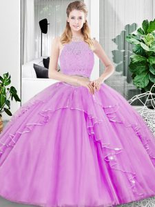 Cheap Lilac Tulle Zipper Sweet 16 Quinceanera Dress Sleeveless Floor Length Lace and Ruffled Layers