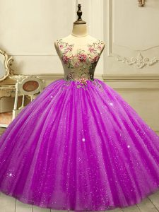 Fuchsia Ball Gowns Appliques and Sequins Quinceanera Gown Lace Up Tulle Sleeveless Floor Length