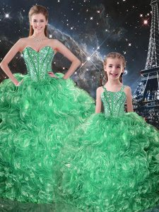 Ideal Organza Sleeveless Floor Length Quince Ball Gowns and Beading and Ruffles