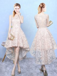 Champagne Sleeveless High Low Lace Zipper Bridesmaid Dresses