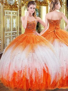 Cheap Organza Sleeveless Floor Length Quinceanera Dress and Beading and Ruffles