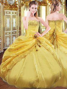 Beading and Pick Ups Vestidos de Quinceanera Gold Lace Up Sleeveless Floor Length