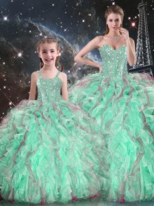 Attractive Turquoise Sleeveless Floor Length Beading and Ruffles Lace Up Ball Gown Prom Dress