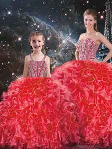Extravagant Organza Sweetheart Sleeveless Lace Up Beading and Ruffles Sweet 16 Quinceanera Dress in Coral Red