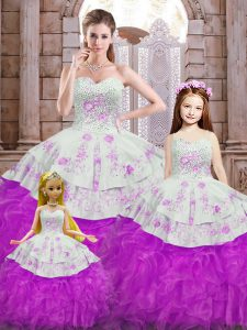 Floor Length Ball Gowns Sleeveless White And Purple Sweet 16 Dress Lace Up