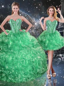 Graceful Beading and Ruffles 15th Birthday Dress Green Lace Up Sleeveless Floor Length