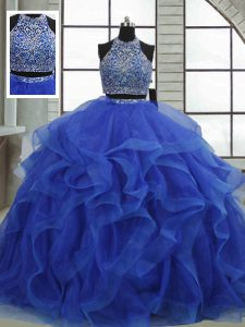High Quality Floor Length Royal Blue Quinceanera Dresses Halter Top Sleeveless Lace Up