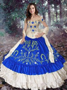 Royal Blue Taffeta Lace Up Off The Shoulder Sleeveless Floor Length 15 Quinceanera Dress Embroidery and Ruffled Layers