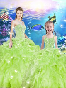 Dramatic Floor Length 15 Quinceanera Dress Organza Sleeveless Beading and Ruffles
