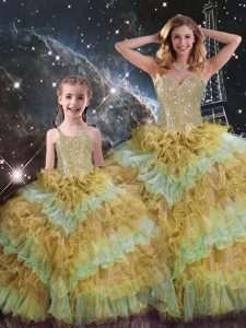 Sleeveless Organza Floor Length Lace Up Sweet 16 Quinceanera Dress in Multi-color with Beading and Ruffled Layers and Sequins