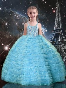 Floor Length Ball Gowns Sleeveless Aqua Blue Little Girls Pageant Dress Wholesale Lace Up
