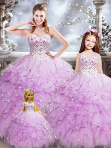 Sexy Floor Length Lilac Quinceanera Gowns Sweetheart Sleeveless Lace Up
