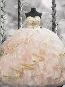 Eye-catching Peach 15th Birthday Dress Sweetheart Sleeveless Brush Train Lace Up