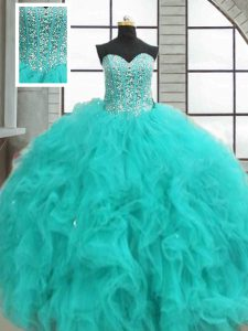 Ball Gowns Sweet 16 Dress Turquoise Sweetheart Organza Sleeveless Floor Length Lace Up