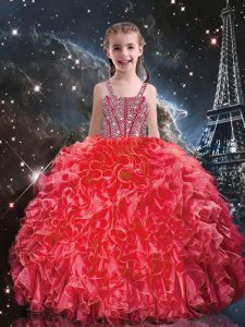 Coral Red Lace Up Party Dress for Girls Beading and Ruffles Sleeveless Floor Length