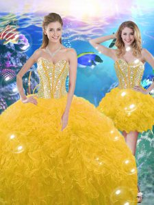 Shining Gold Sweetheart Lace Up Beading and Ruffles Quinceanera Dress Sleeveless