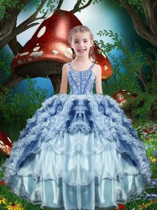 Sleeveless Lace Up Floor Length Beading and Ruffles and Ruffled Layers Party Dress Wholesale