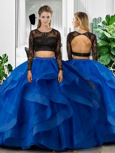 Free and Easy Blue Long Sleeves Floor Length Lace and Ruffles Backless Vestidos de Quinceanera