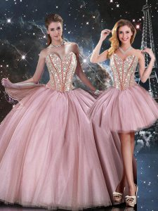 Lilac Sleeveless Tulle Lace Up Ball Gown Prom Dress for Military Ball and Sweet 16 and Quinceanera