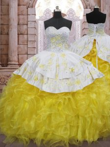 Low Price Beading and Appliques and Ruffles Ball Gown Prom Dress Yellow And White Lace Up Sleeveless Brush Train