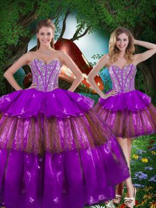 Multi-color Quinceanera Dresses Military Ball and Sweet 16 and Quinceanera with Beading and Ruffled Layers and Sequins Sweetheart Sleeveless Lace Up