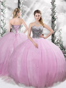 Sleeveless Tulle Brush Train Lace Up Quinceanera Gowns in Lilac with Beading