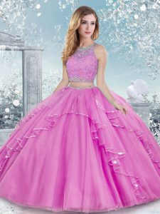 Eye-catching Sleeveless Beading and Lace Clasp Handle Sweet 16 Dresses