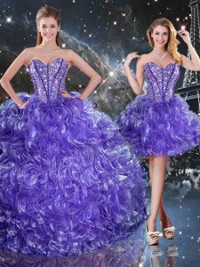 Stylish Sweetheart Sleeveless Lace Up Quince Ball Gowns Purple Organza