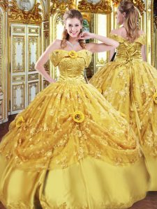 Amazing Gold Ball Gowns Tulle Strapless Sleeveless Beading and Appliques and Hand Made Flower Floor Length Lace Up Ball Gown Prom Dress