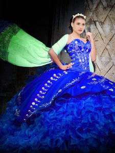 Elegant Sleeveless Embroidery and Ruffles Lace Up 15th Birthday Dress with Royal Blue Brush Train