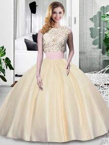 Floor Length Champagne Ball Gown Prom Dress Taffeta Sleeveless Lace and Appliques and Ruching