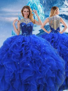 Floor Length Ball Gowns Sleeveless Royal Blue Sweet 16 Quinceanera Dress Zipper