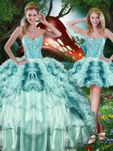 Floor Length Lace Up Quinceanera Gowns Multi-color for Military Ball and Sweet 16 and Quinceanera with Beading and Ruffles and Ruffled Layers