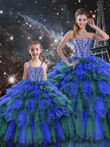 Super Organza Sweetheart Sleeveless Lace Up Beading and Ruffles and Ruffled Layers Quince Ball Gowns in Multi-color