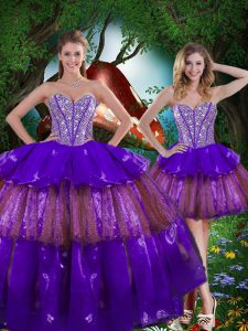 Luxurious Multi-color Sweetheart Neckline Beading and Ruffled Layers and Sequins Ball Gown Prom Dress Sleeveless Lace Up