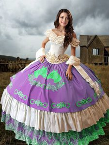 Traditional Multi-color Taffeta Lace Up 15 Quinceanera Dress Sleeveless Brush Train Embroidery and Ruffled Layers