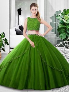Floor Length Zipper Sweet 16 Dress Olive Green for Military Ball and Sweet 16 and Quinceanera with Lace and Ruching