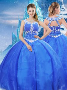 Smart Blue Sweet 16 Quinceanera Dress Military Ball and Sweet 16 and Quinceanera with Beading V-neck Sleeveless Zipper