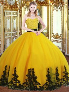 Sleeveless Floor Length Beading and Appliques Zipper 15th Birthday Dress with Gold