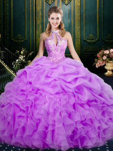 Chic Halter Top Sleeveless Vestidos de Quinceanera Floor Length Beading and Ruffles and Pick Ups Lilac Organza