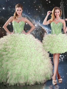 Lace Up Sweetheart Beading and Ruffles Sweet 16 Quinceanera Dress Organza Sleeveless
